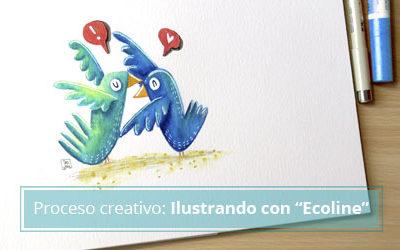 Ilustrar con Ecoline de Royal Talens los pájaros de mi packaging
